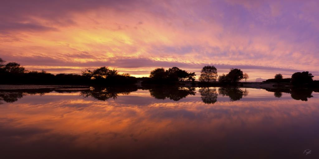 Landscape photography Sunset, Setly Pond, New Forest National Park Hampshire