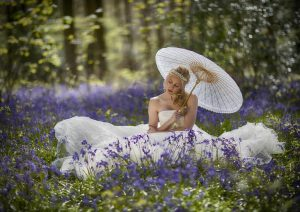 bride portrait bluebell woods wedding photography hampshire